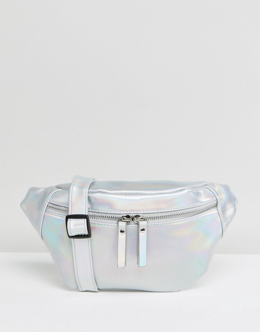 New Look Festival Metallic Fanny Pack - Silver