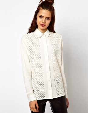Image 1 ofASOS Shirt With Broderie Panel