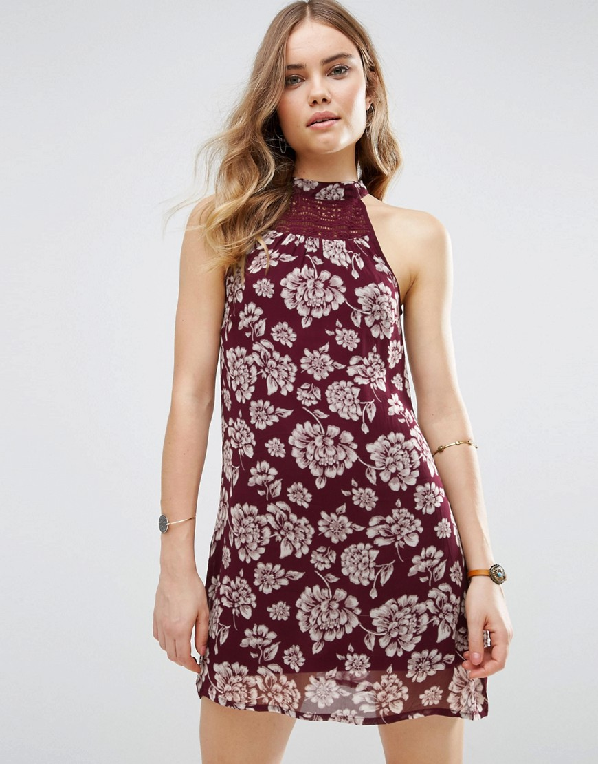Band Of Gypsies Vintage Style Floral Shift Dress - Red