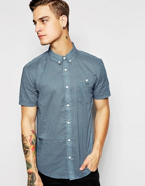 Silver Eight Diamond Print Short Sleeve Shirt