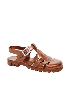 Image 1 ofJuju Maxi Copper Slingback Flat Shoes