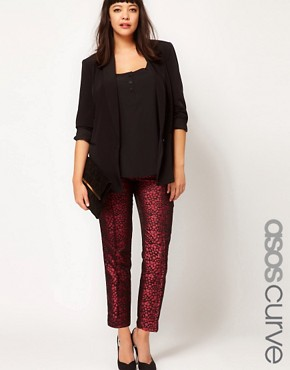 Image 1 ofASOS CURVE Peg Trouser in Jacquard