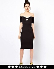 Oh My Love Off The Shoulder Midi Body-Conscious Dress