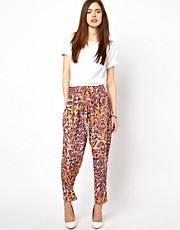 Just Female Coloured Printed Trousers