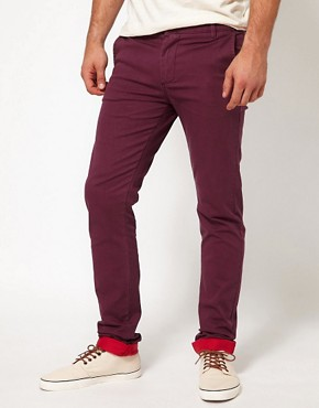 Image 1 ofASOS Skinny Chino With Contrast Turn Up