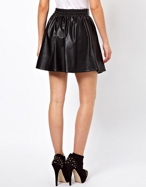 Image 2 of Glamorous Leather Look Skater Skirt