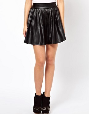 Image 4 ofGlamorous Leather Look Skater Skirt