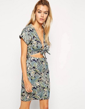 79819fd40b ASOS Reclaimed Vintage Dress With Tie Front In Washed Tropical Print  (multicolor)