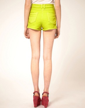 Image 2 ofASOS Neon Green High Waist Denim Hotpants