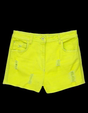 Image 3 ofASOS Neon Green High Waist Denim Hotpants