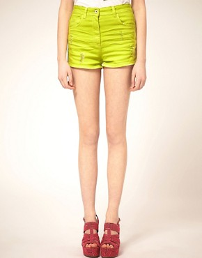 Image 4 ofASOS Neon Green High Waist Denim Hotpants