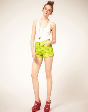 Image 1 ofASOS Neon Green High Waist Denim Hotpants