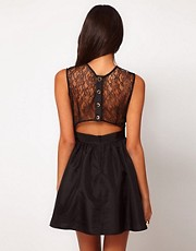 Elise Ryan Lace Taffeta Skater Dress