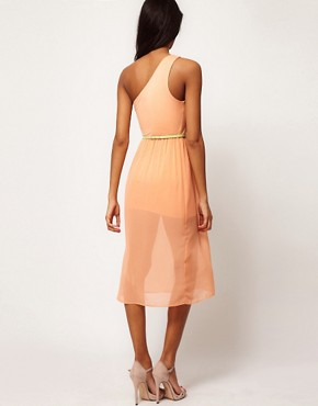 Image 2 ofASOS Midi One Shoulder Dress With Belt