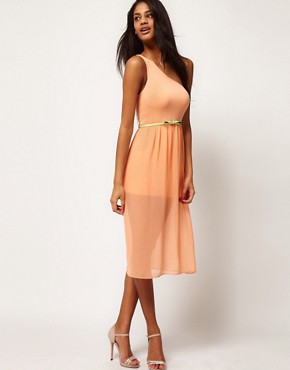 Image 4 ofASOS Midi One Shoulder Dress With Belt