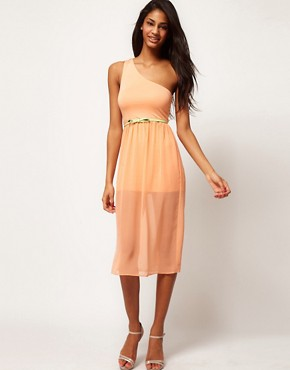 Image 1 ofASOS Midi One Shoulder Dress With Belt