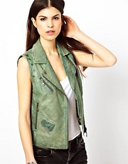 Doma Sleeveless Leather Biker Jacket