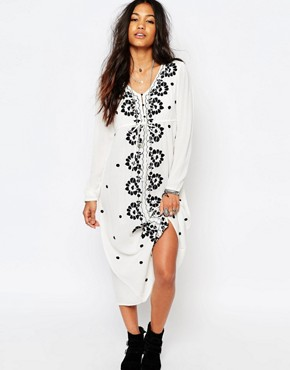Boohoo Embroidered Midi Dress