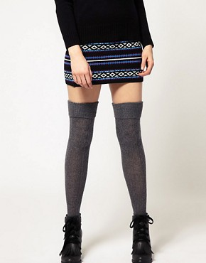 Image 1 ofASOS Wool Cable Over The Knee Socks