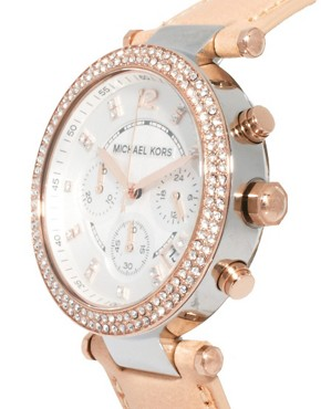Image 3 ofMichael Kors Exclusive to ASOS Diamante Chronograph Watch