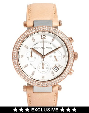 Image 1 ofMichael Kors Exclusive to ASOS Diamante Chronograph Watch