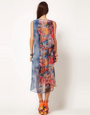 Image 2 ofASOS Kaftan Dress in Spot &amp; Print