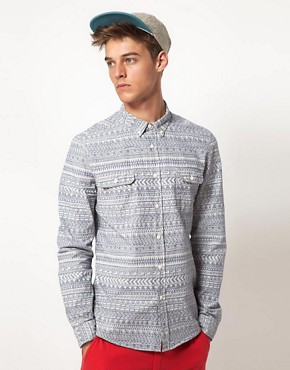 Image 1 ofASOS Chambray Shirt With Tribal Print