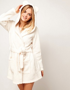 Image 1 ofOysho Fluffy Robe With Animal Ears