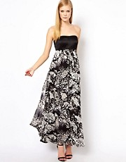 Karen Millen Maxi Dress in Floral Print with Contast Bandeau