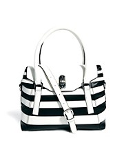 Karen Millen Cruise Black &amp; White Flap Top Bag