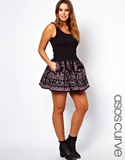 ASOS CURVE Skater Skirt With Embroidery Print