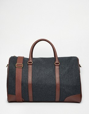 ASOS Holdall In Charcoal Melton