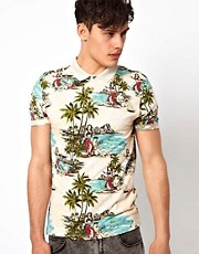 River Island  Polohemd mit Hawaiimuster