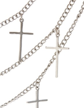 Image 4 ofASOS Multi Row Cross Necklace