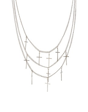 Image 1 ofASOS Multi Row Cross Necklace