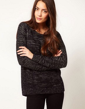 Image 1 ofWhistles Rita Lurex Trim Chunky Knit Sweater