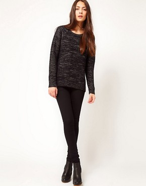 Image 4 ofWhistles Rita Lurex Trim Chunky Knit Sweater