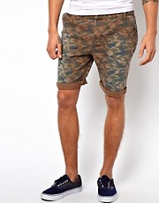 River Island Twill Camo Print Shorts