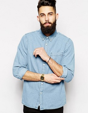 ASOS Denim Shirt In Long Sleeve With Mid Wash