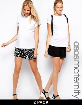 ASOS Maternity 2 Pack Culotte Shorts In Black and Floral Print