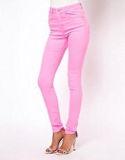 ASOS Ridley Supersoft High Waisted Ultra Skinny Jeans in Neon Pink