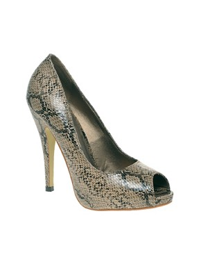 Image 1 ofLondon Rebel Snake Peep Toe Court Shoes
