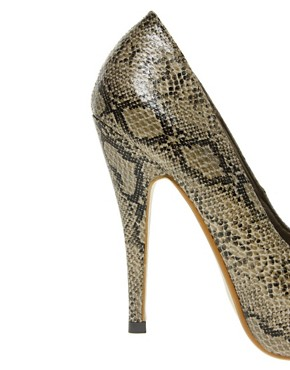 Image 2 ofLondon Rebel Snake Peep Toe Court Shoes