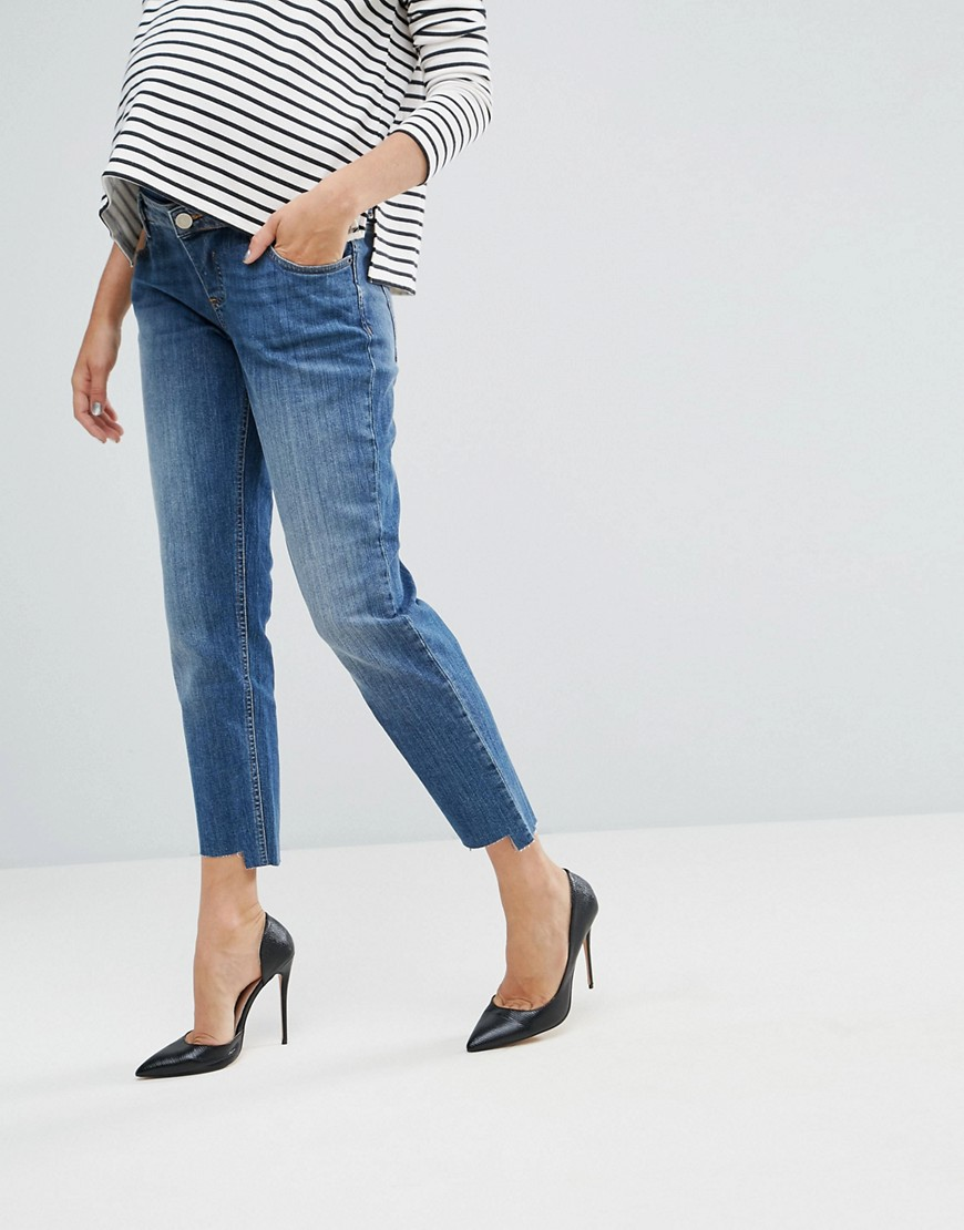 ASOS MATERNITY KIMMI Shrunken Boyfriend Jeans in Blake Vintage Darkwash and Stepped Hem with Over the Bump Waistband - Vintage darkwash