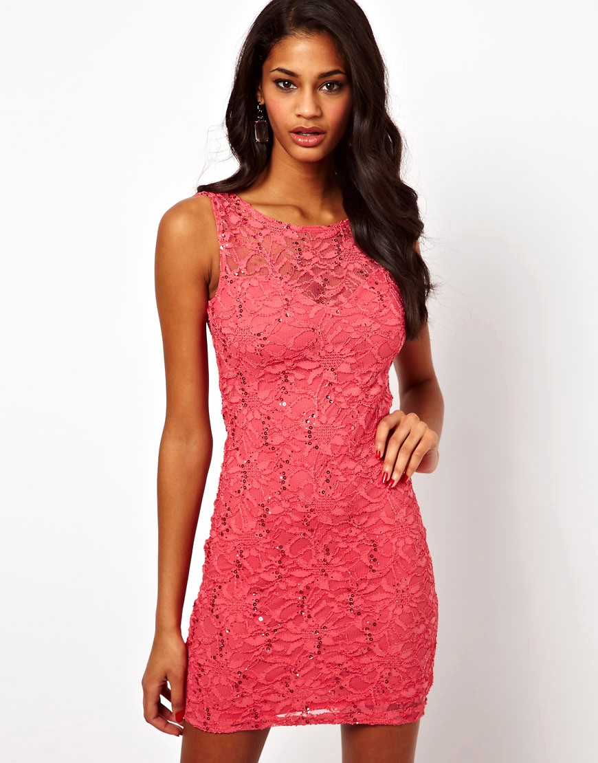 Image 1 of Lipsy Lace and Sequin Dress