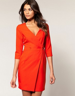 Image 1 ofASOS Wrap Pencil Dress with Fitted Skirt