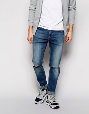 ASOS Stretch Slim Jeans With Knee Rips