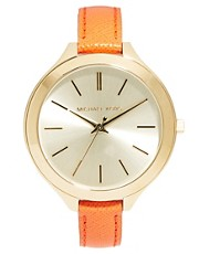 Michael Kors Slim Runway Orange Strap Watch