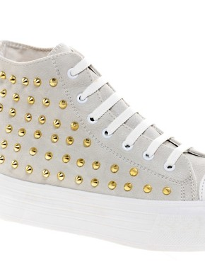 Image 2 ofASOS DECORATE Studded Flatform High Tops