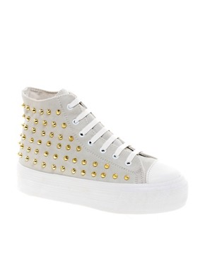 Image 1 ofASOS DECORATE Studded Flatform High Tops